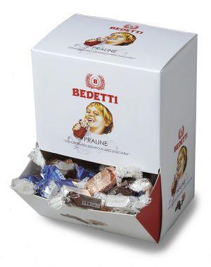 Praline di cioccolato assortite in espositore Bedetti